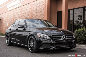 2015 Mercdes Benz C300 4Matic on 19 inch Rohana Machined Black RC10 Wheels with Vogtland Springs.