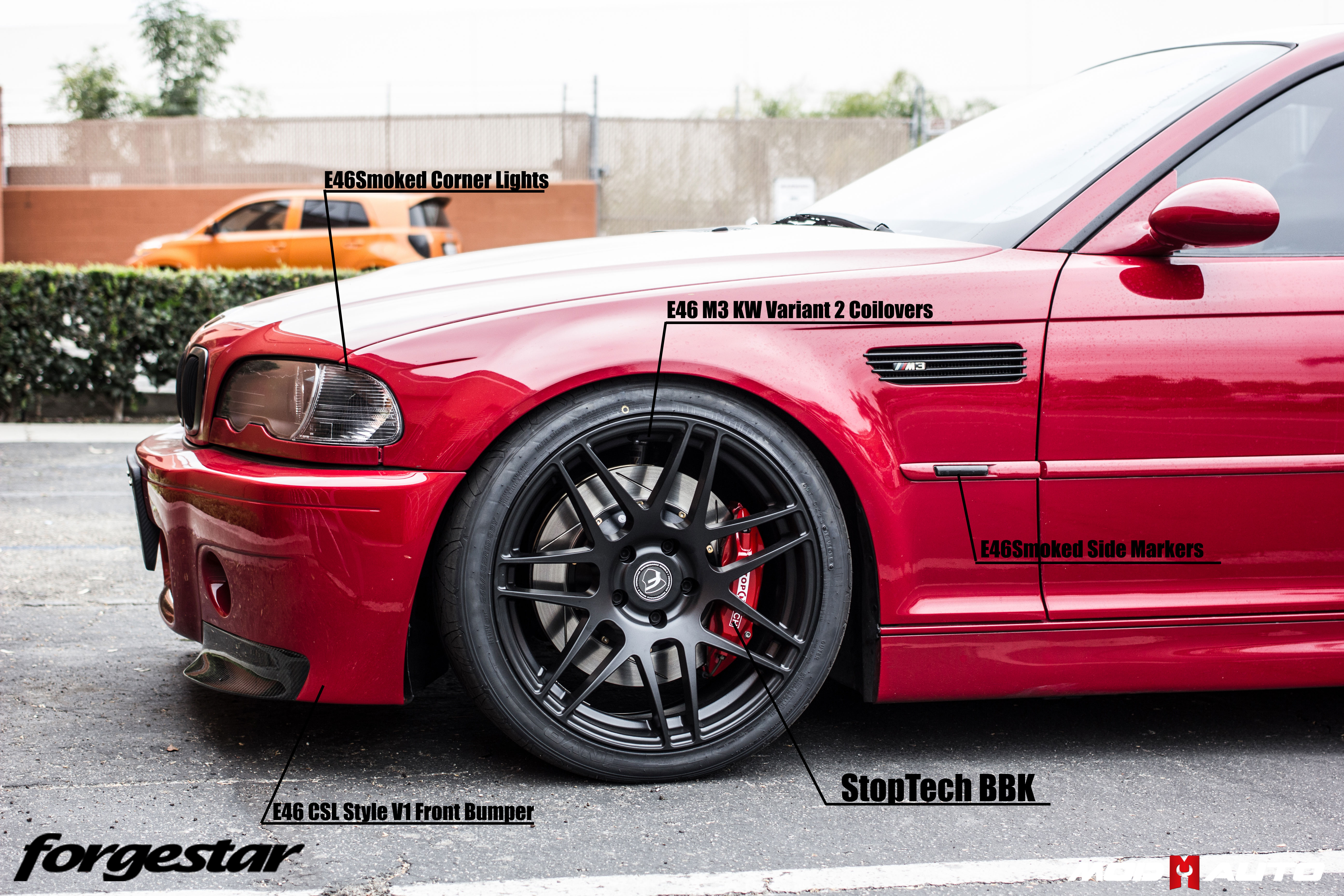 Bmw E46 M3 On Forgestar F14 Semi Gloss Black 19 8 5 19 10 Stoptech Big Brake Kit Mod Auto