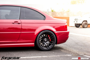 BMW E46 M3 on Forgestar F14 Semi-Gloss Black [19×8.5 | 19×10] & StopTech Big Brake Kit.